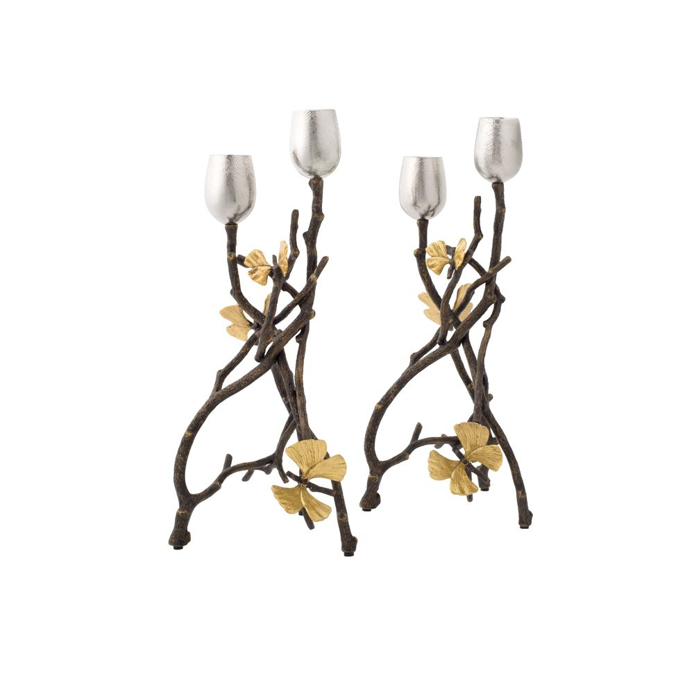 Butterfly Gingko Candleholders, Set of 2 - House of Moseley
