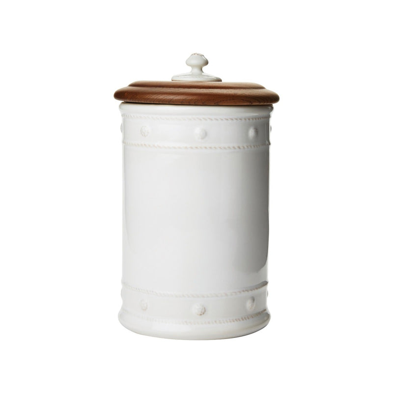 "Berry & Thread Whitewash 11.5"" Canister with Wooden Lid - House of Moseley"