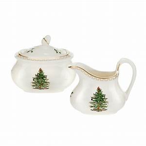 Christmas Tree Gold Sugar Bowl And Creamer