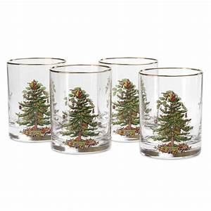 Christmas Tree Double Old Fashioned, Set of 4