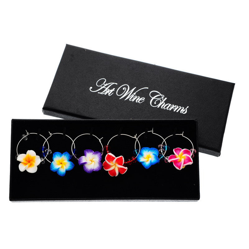 6Pcs Mixed Flower Wine Charms
