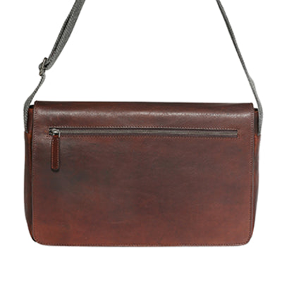 Modapelle Unisex Rustic Cow Leather Brown Satchel Bag 3909