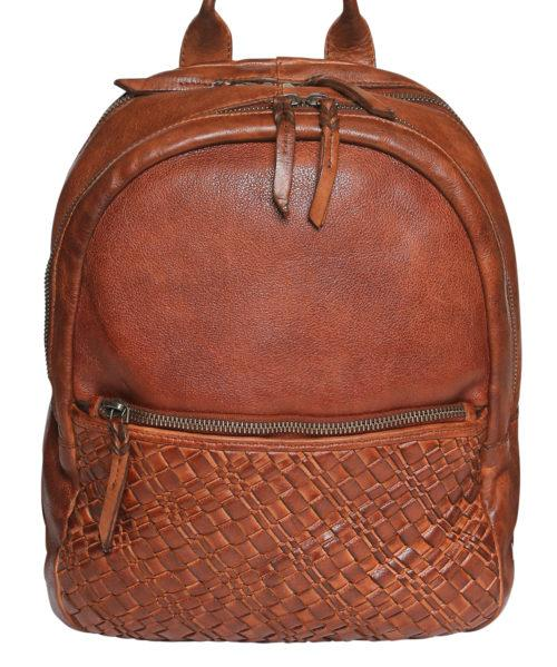 Modapelle Women's Vintage Leather Collection Woven Backpack 5946