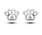 Sterling Silver & CZ Dog Paw Print Stud Earrings