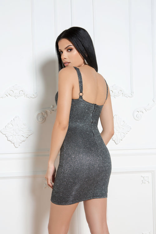 All That Glitters Dress in Charcoal - ShopLuvB