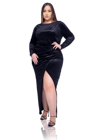 Eva Satin Mini Dress - Black