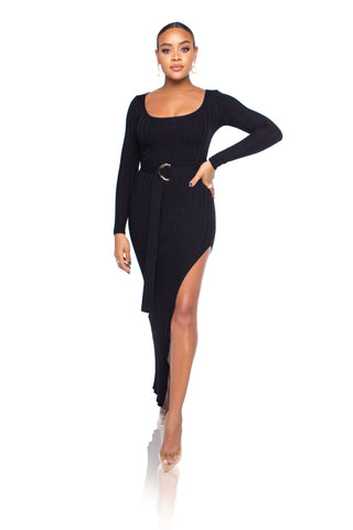 Mona Turtleneck Sweater Dress - Black