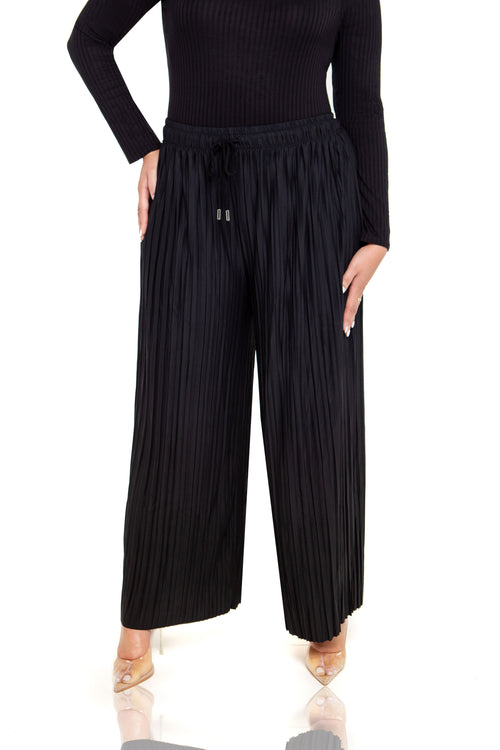 Calli Pleated Wide Leg Pants - Black - ShopLuvB
