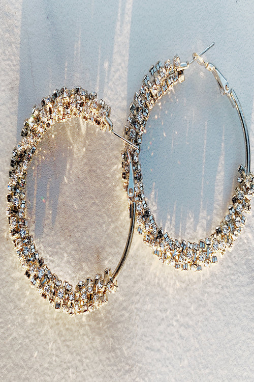 Crystal Cluster Hoop Earrings - ShopLuvB