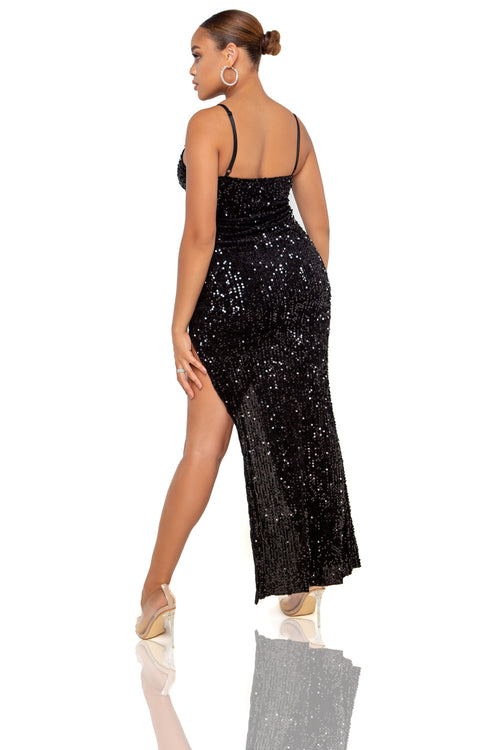 Destiny Sequin Maxi Dress - Black - ShopLuvB