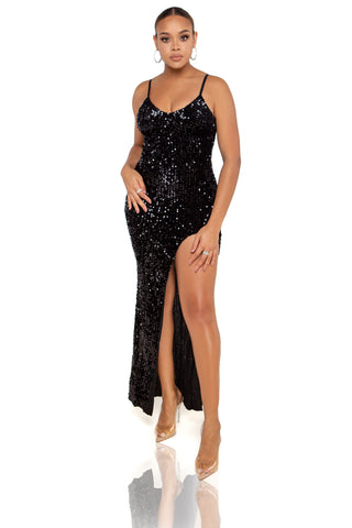 Diana Rhinestone & Pearl Maxi Dress - Black
