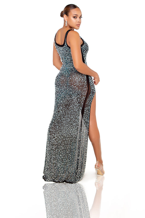 Diana Rhinestone & Pearl Maxi Dress - Black - ShopLuvB