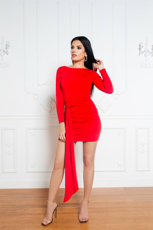 Full Flair Dress in Red - ShopLuvB