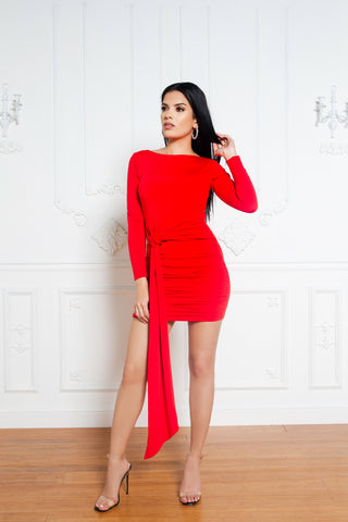 The Ribbed Midi Dress in Red