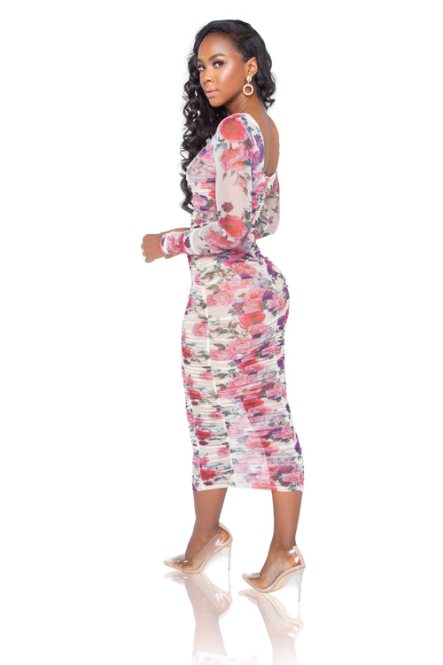 Giselle Floral Midi Dress - Off White - ShopLuvB