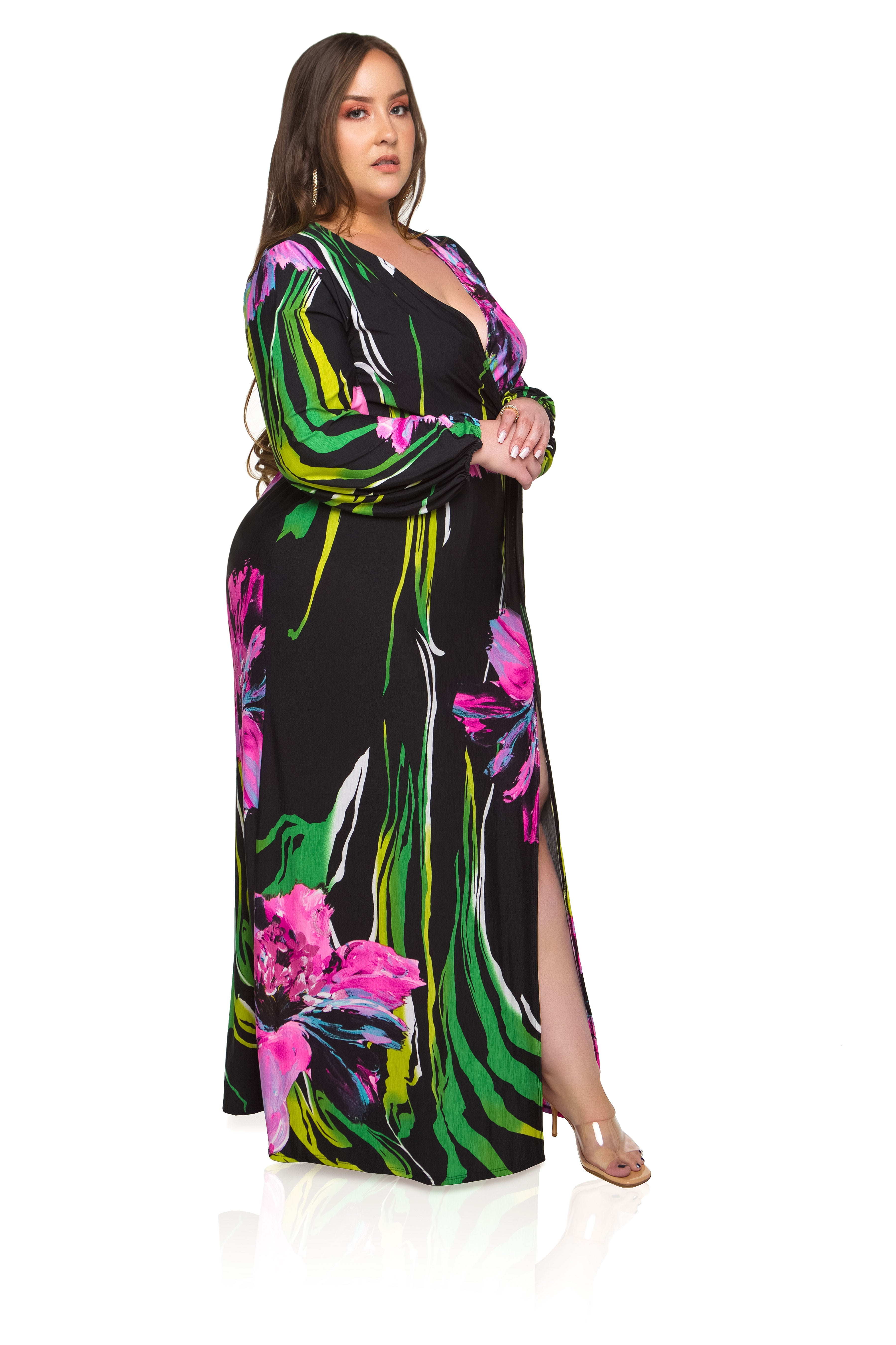 Iris Floral Maxi Dress - Black - ShopLuvB