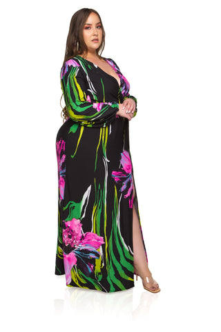 Bella Velvet Maxi Dress - Black