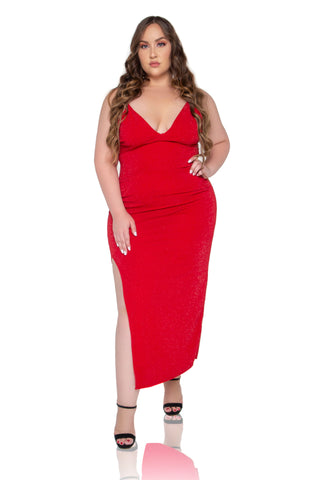 Kiara Satin Maxi Dress - Red
