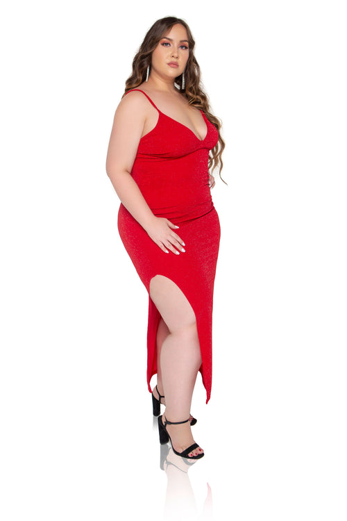 Juliana Shimmer Maxi Dress - Red - ShopLuvB
