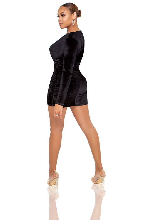 Juliet Velvet Mini Dress - Black - ShopLuvB