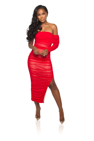 Juliana Shimmer Maxi Dress - Red