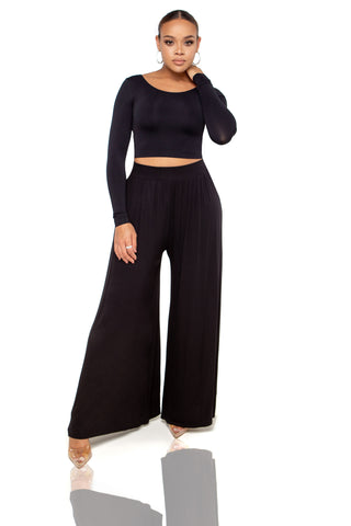 Calli Pleated Wide Leg Pants - Black