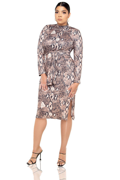 Kendall Snake Print Midi Dress - Brown - ShopLuvB
