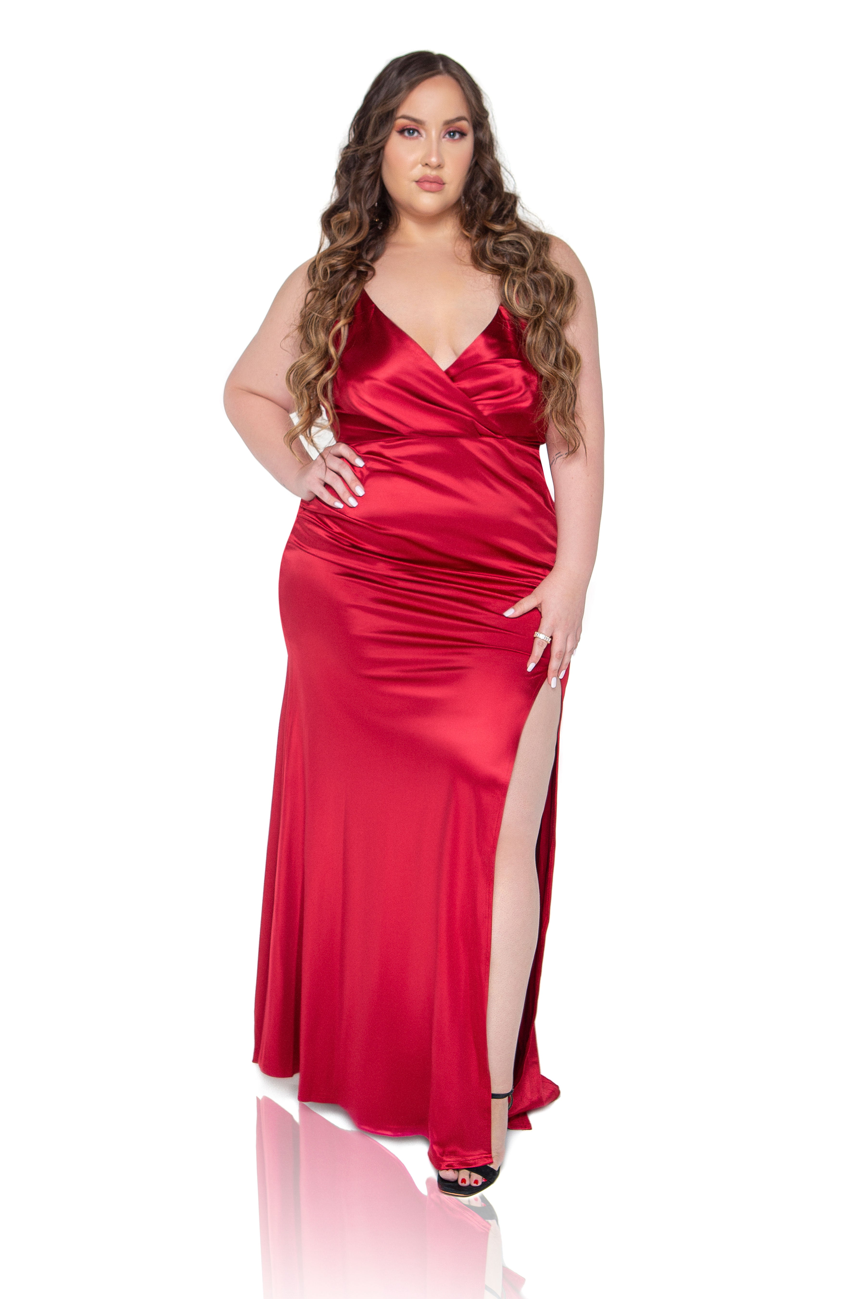 Kiara Satin Maxi Dress - Red - ShopLuvB