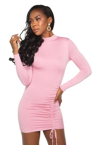 Laila Drawstring Satin Dress - Pink