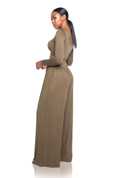 Mirihi Wide-leg Pants - Olive - ShopLuvB