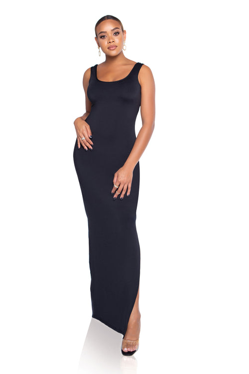 Naomi Tank Maxi Dress - Black - ShopLuvB