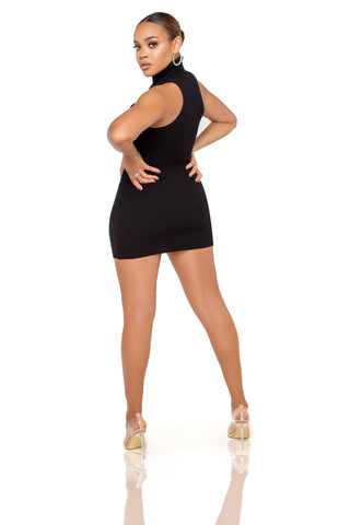 Juliet Velvet Mini Dress - Black