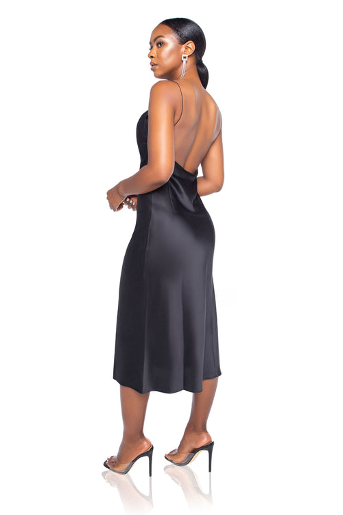 Scarlett Satin Midi Dress - Black - ShopLuvB