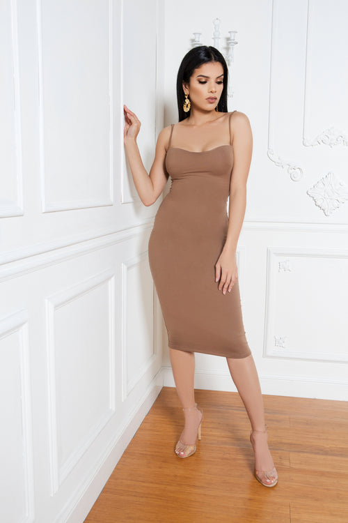 Sensual Seduction Dress in Tan - ShopLuvB