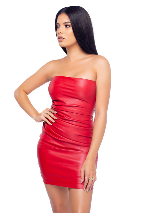 Siren Leather Dress - Red