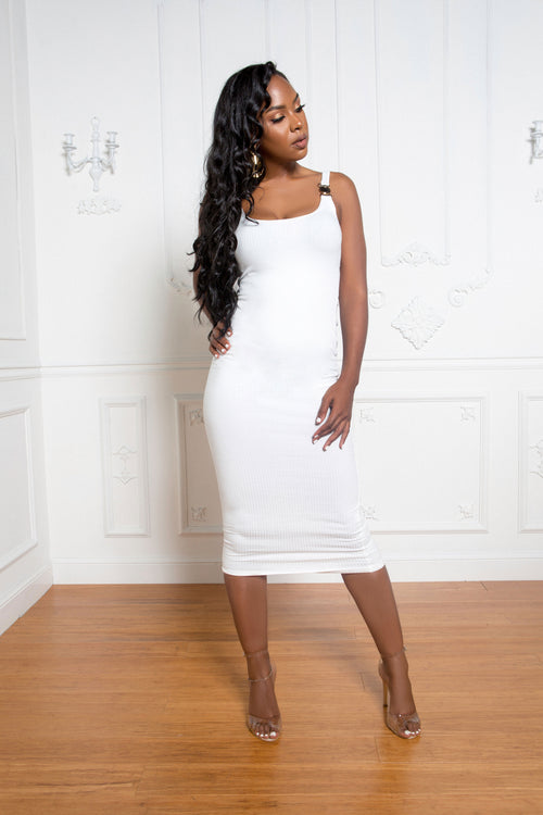 The Ribbed Midi Dress in White - ShopLuvB