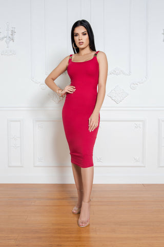 Flaunt It Satin Dress - Red