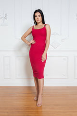 The Ribbed Midi Dress in Red - ShopLuvB