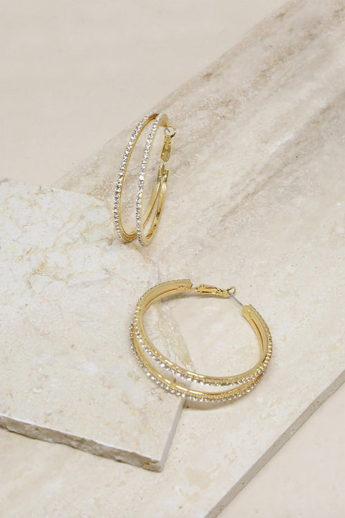 Two Lane Crystal Hoop Earrings - ShopLuvB