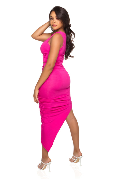 Zoe Midi Skirt - Hot Pink - ShopLuvB