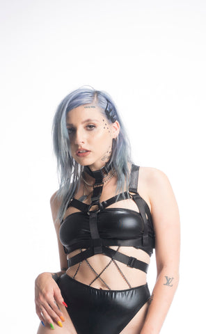 BONDAGE BARBIE CHOKER HARNESS (BLACK)