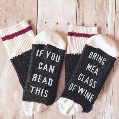If You Can Read This Bring Me Wine Socks- Limited Qty Available - UntamedEgo LLC.