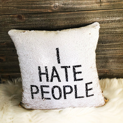 I HATE PEOPLE PILLOW COVER - UntamedEgo LLC.