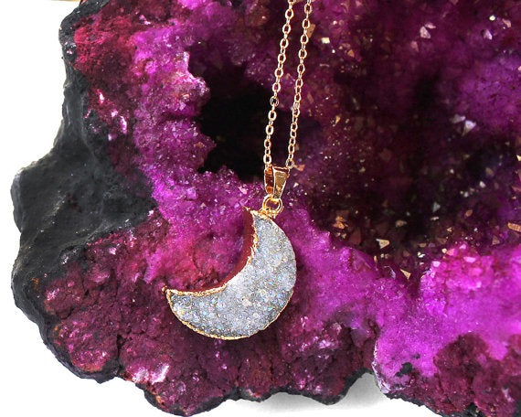 Moon Pendant Quartz stone Necklace