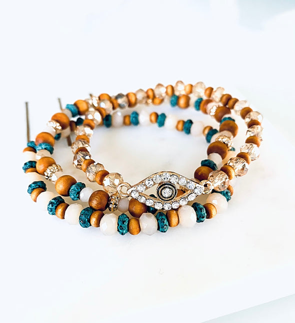 3 Layer Evil Eye Bracelet Set - UntamedEgo LLC.