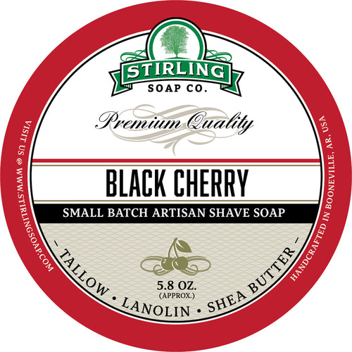 STIRLING SOAP CO BLACK CHERRY SHAVE SOAP 5.8 OZ
