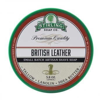 STIRLING SOAP CO BRITISH LEATHER SHAVE SOAP 5.8 OZ