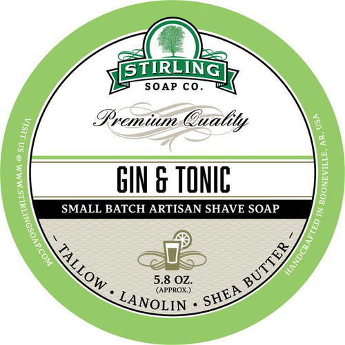 STIRLING SOAP CO GIN & TONIC SHAVE SOAP 5.8 OZ