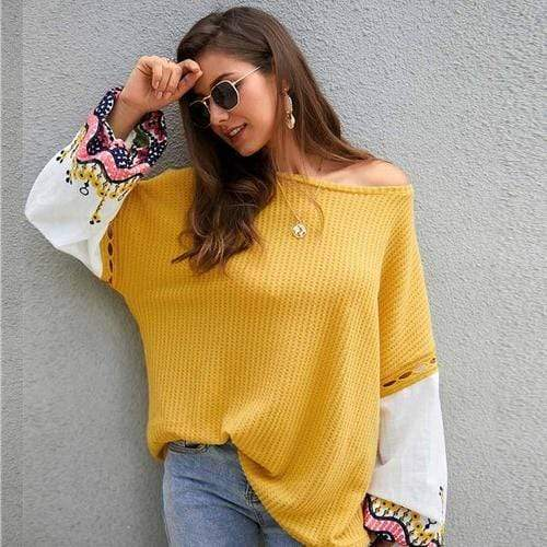 Silver Sam Sweaters & Hoodies L / yellow Embroidery Contrast Hollow Out Sweater