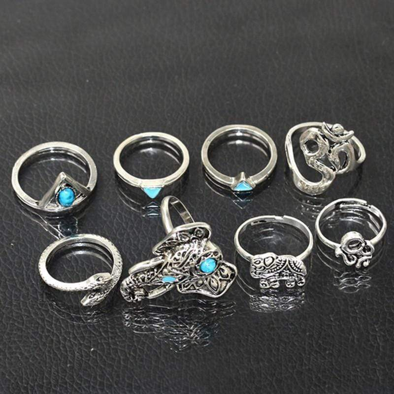Elephant Om Ring Set 8pcs WickedAF